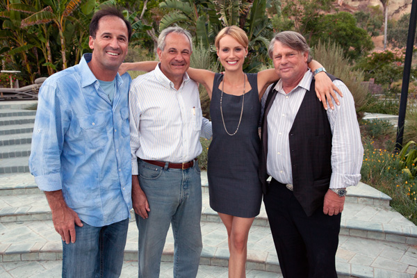 "Photo of Harmon Kaslow, John Aglialoro, Taylor Schilling, and Graham Beckel on the set of ""Atlas Shrugged"""
