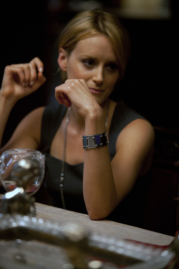 Photo of Taylor Schilling with Rearden Metal bracelet